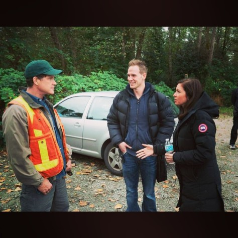 On set of series MOTIVE with Actor Dylan Walsh and Executive Producer Erin Haskett