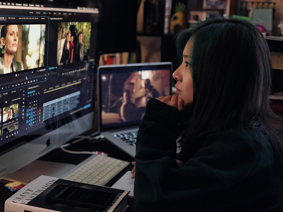 Aijia working on a new upcoming feature film.jpg
